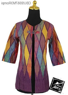 Desain Baju Batik Wanita Kombinasi Terbaru