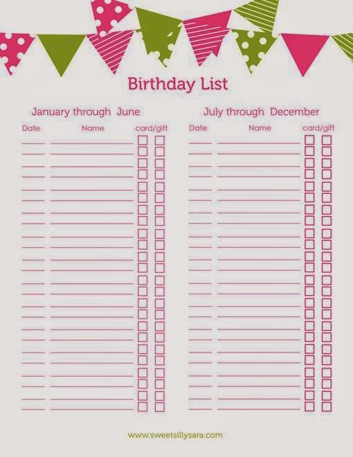 Sweet Silly Sara Birthday List Printable