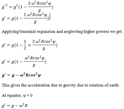 relationship of distance and acceleration due to gravity