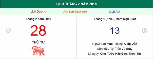 Xem ngày tốt xấu, giờ hoàng đạo - Xem lịch thứ tư ngày 28 tháng 2 năm 2018