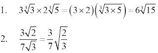 Contoh perkalian dan pembagian bilangan bentuk akar