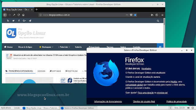Mozilla Firefox Developer Edition executando no openSUSE Leap 42.3 com ambiente de desktop GNOME (SUSE Linux Default)