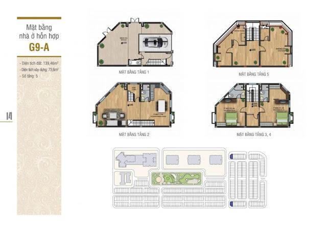 Thiết kế mặt bằng nhà ở hỗn hợp G9-A liền kề La Casta Văn Phú HiBrand