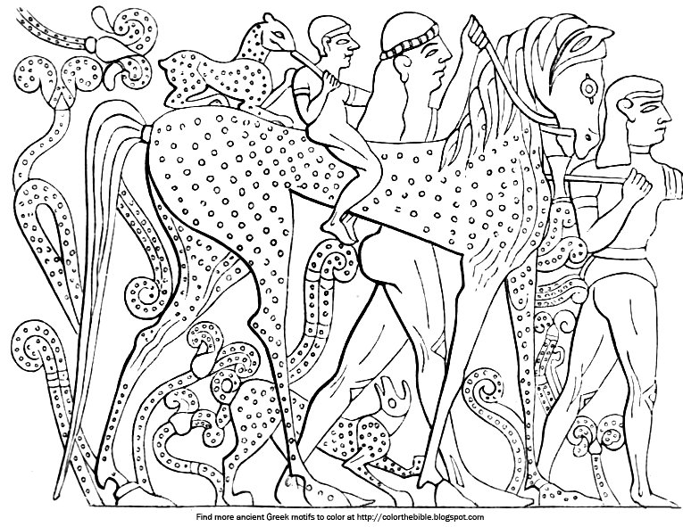 Ancient Greek Motifs of Animals: Two Pages   Color The Bible
