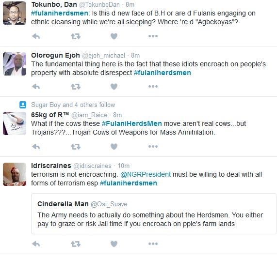 Nigerians Lament #fulaniherdsmen Terrorist Attacks On Twitter