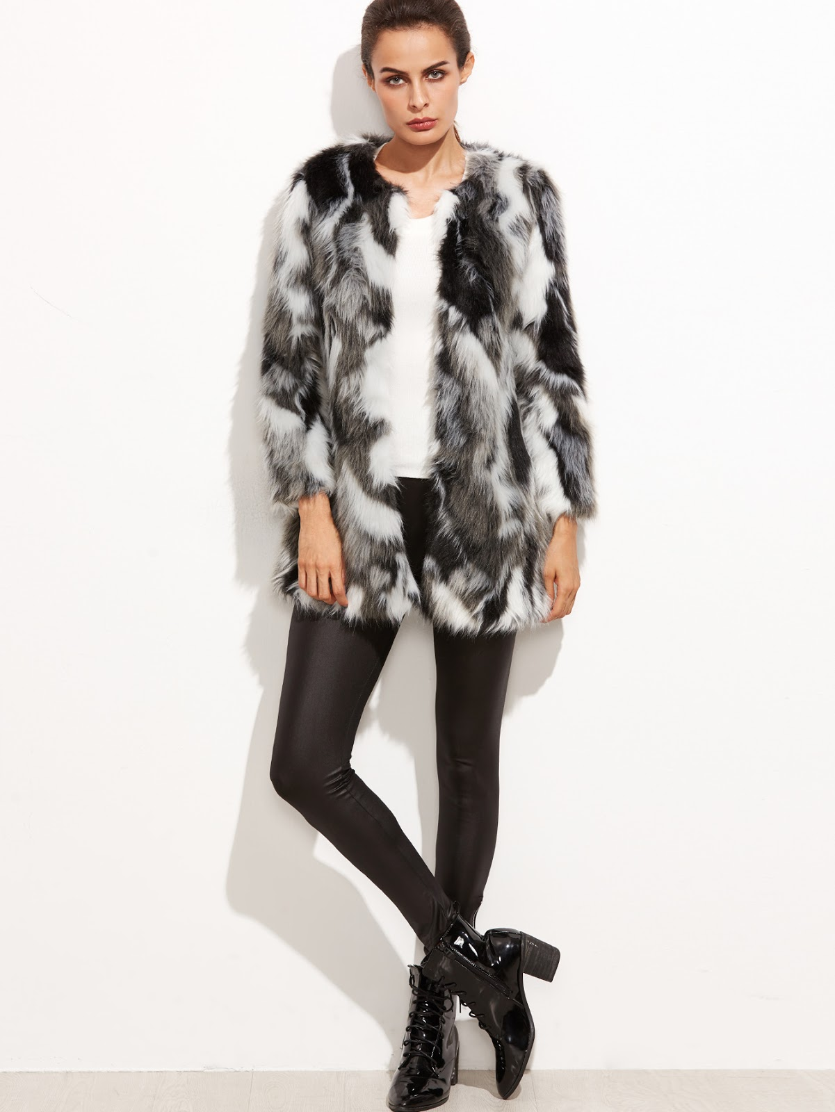 grey black white faux fur cheap