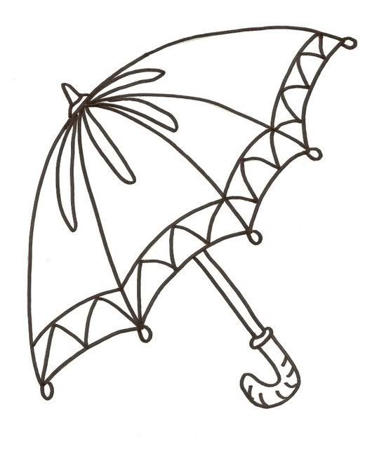 Tranh tô màu cái ô vẽ trang trí