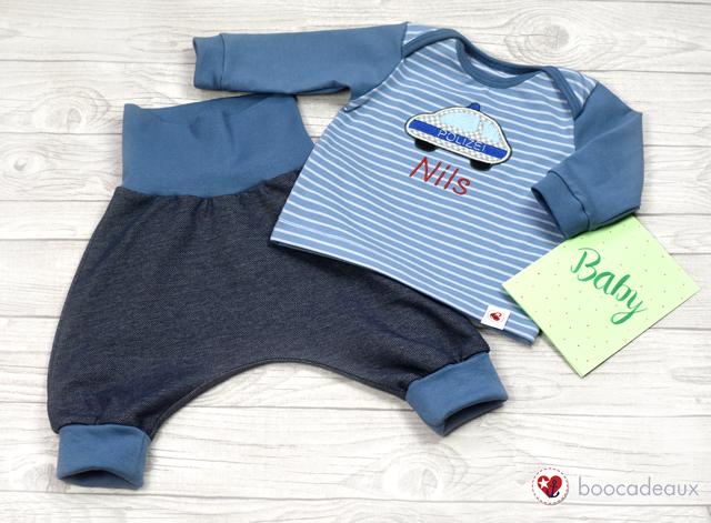 """Neugeborenen Set - Checkerhose und Babyshirt """"Polizei"""""""