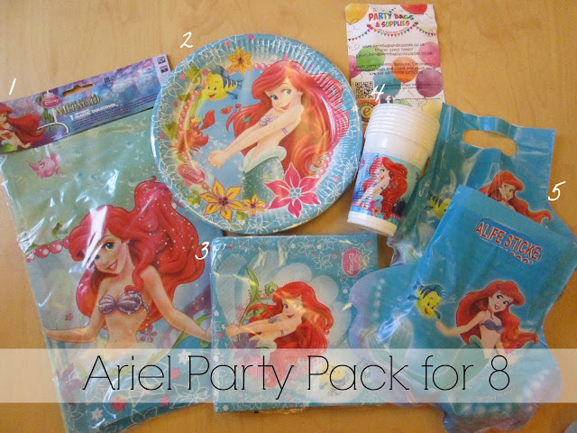 What was included in a Party Bags and Supplies Ariel party pack