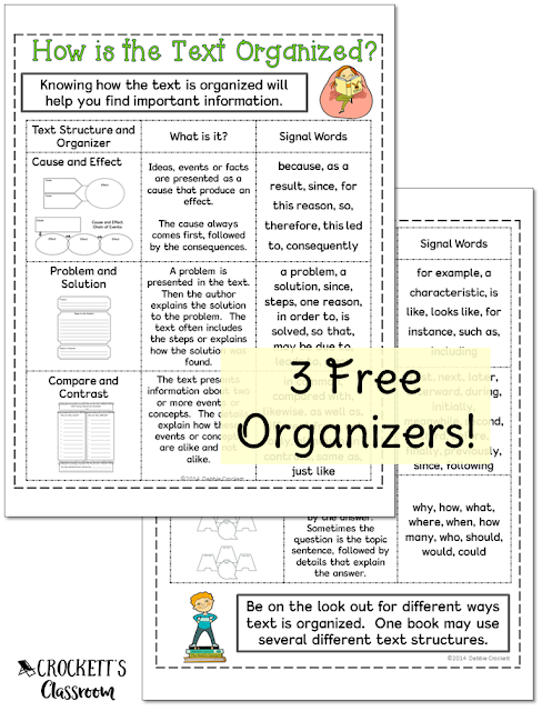Download your 3 free graphic organizers to use with informational text.