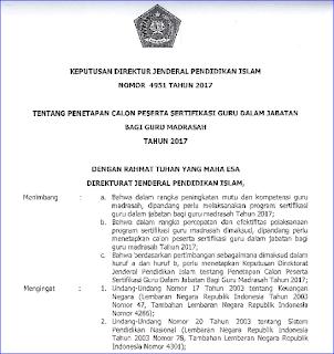 Daftar Calon Peserta Sertifikasi Guru (Sergur) dalam Jabatan Bagi Guru Madrasah Tahun 2017