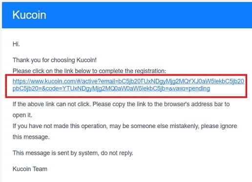 validar correo electrónico web Kucoin