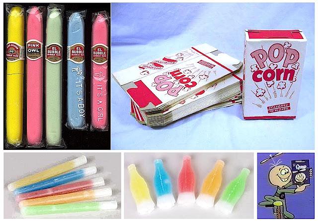 1960's candy, bubblegum cigars, wax tubes