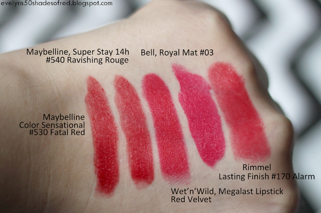 Maybelline Color Sensational #530 Fatal Red, Maybelline Super Stay 14h #540 Ravishing Rouge, Wet'n'Wild Megalast Lipstic Red Velvet, Bell Royal Mat #03, Rimmel Lasting Finish #170 Alarm