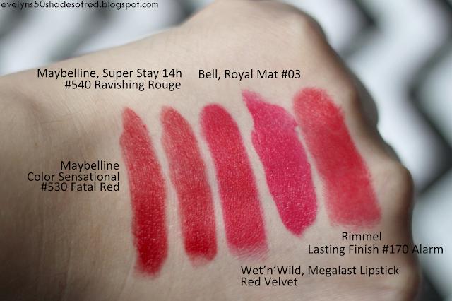 Maybelline Color Sensational #530 Fatal Red, Maybelline Super Stay 14h #540 Ravishing Rouge, Wet'n'Wild Megalast Lipstic Red Velvet, Bell Royal Mat #03, Rimmel Lasting Finish #170 Alarm
