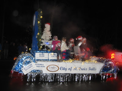 The St. Croix Falls float in the Taylors Falls holiday parade