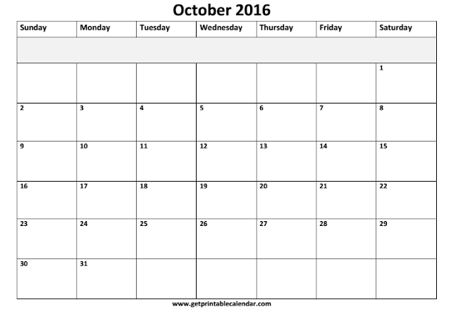October 2016 Calendar Printable, October 2016 Printable Calendar, October 2016 Calendat Templates, October 2016 Blank Calendar, October 2016 Calendar