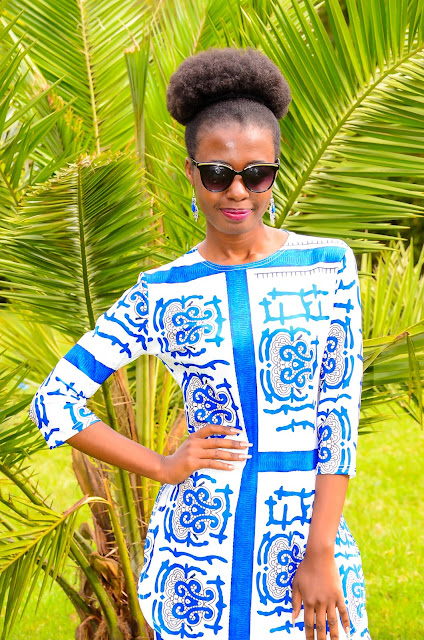 Wearing A Blue And White Porcelain Print Two Piece Set