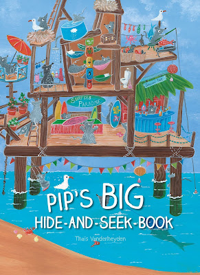 Pip is playing hide-and-seek with his mouse friends. The 100 mice scatter as Pip counts and each following page has 10 mice hiding in the illustrations. The scenes vary widely: a circus caravan, space, a submarine. Kids will enjoy hunting for the mice and can practice counting to ten as they do! #Pip'sBigHideandseekbook #NetGalley