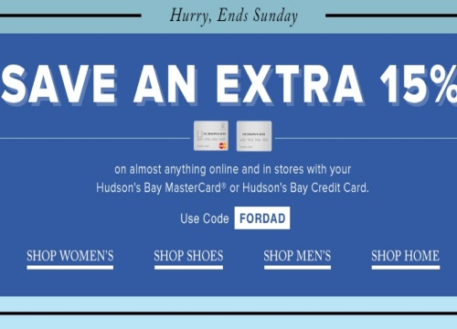 Hudson's Bay Father's Day Extra 15% Off Promo Code