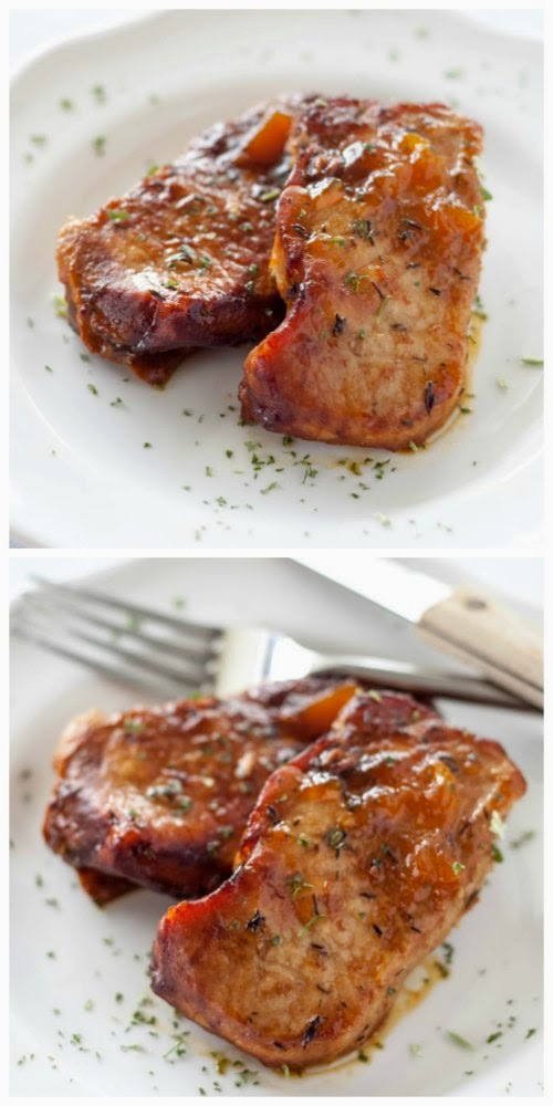 Crockpot Peach Glazed Pork Chops from Crockpot Gourmet found on SlowCookerFromScratch.com