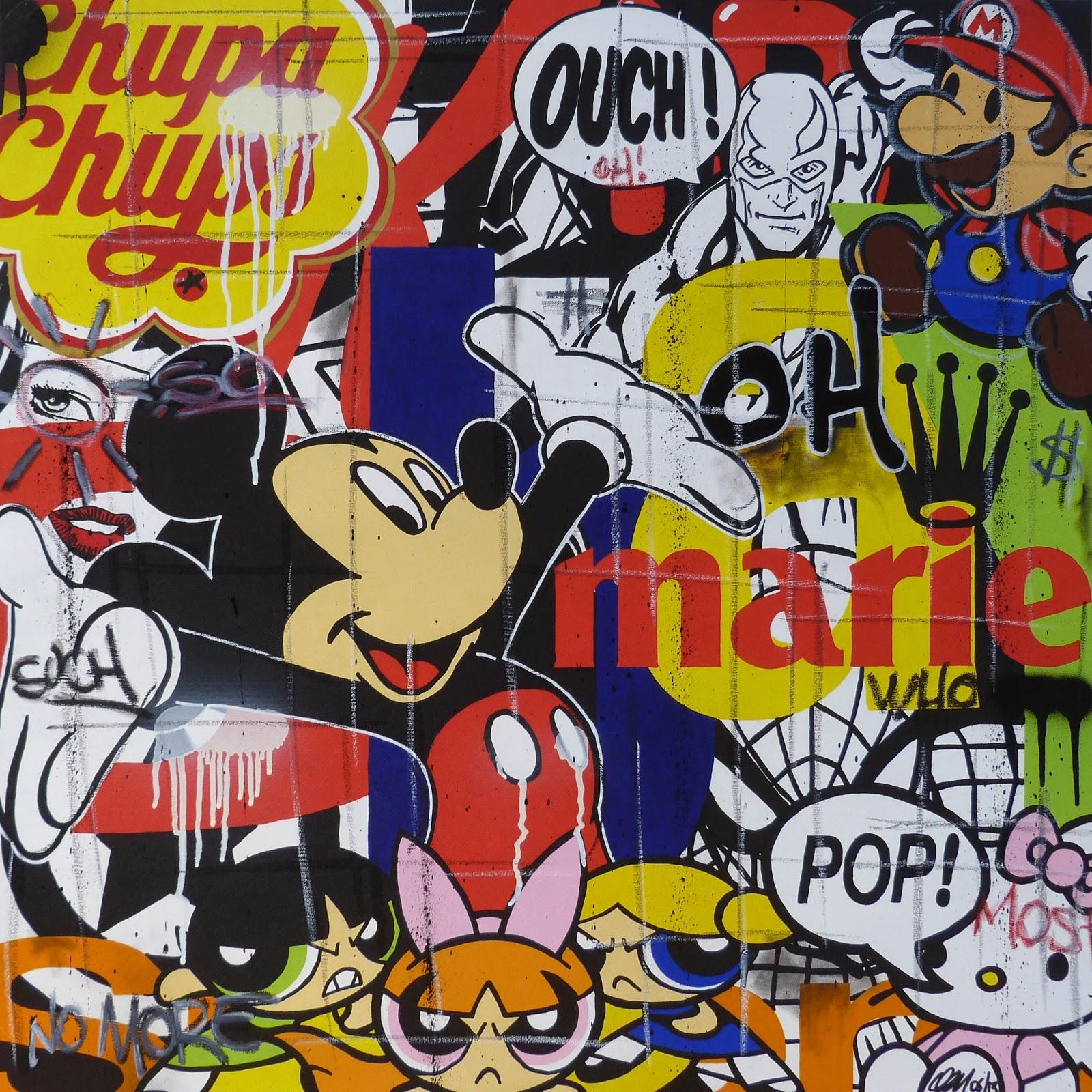 Popkulturelle Cartoon Streetart auf Leinwand von Jerome Clem - Graffiti
