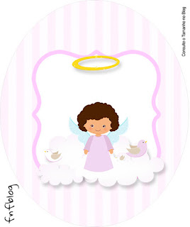 Brunette Angel Girl, Toppers or Free Printable Candy Bar Labels.
