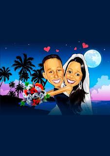 caricatura de noivos apaixonados