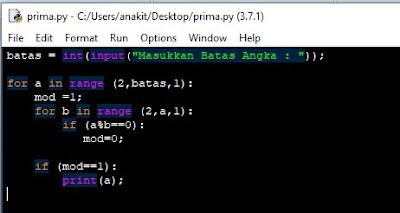 script python deret bilangan prima atau codingan python dalam menampilkan bilangan prima dari 2 sampai 100 atau yang lainnya