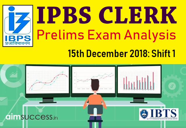 IBPS Clerk Prelims Exam Analysis 15th December 2018:  Shift 1