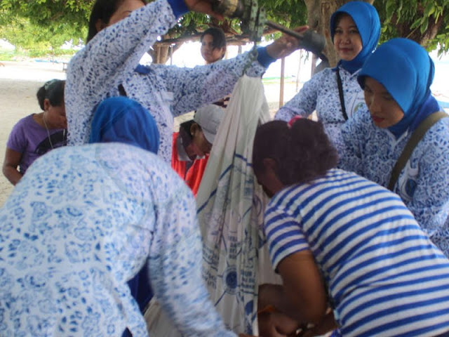 Ibu-Ibu Jalasenastri Lanal Saumlaki Gelar Posyandu di Desa Matakus