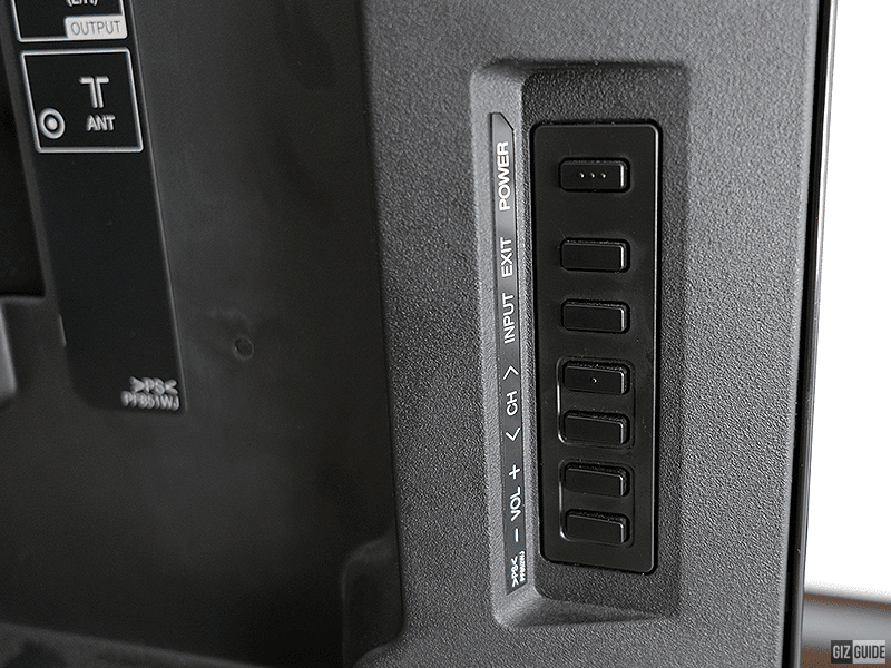 Power, Volume, Channel, Input and exit buttons are on the lower left side of the display