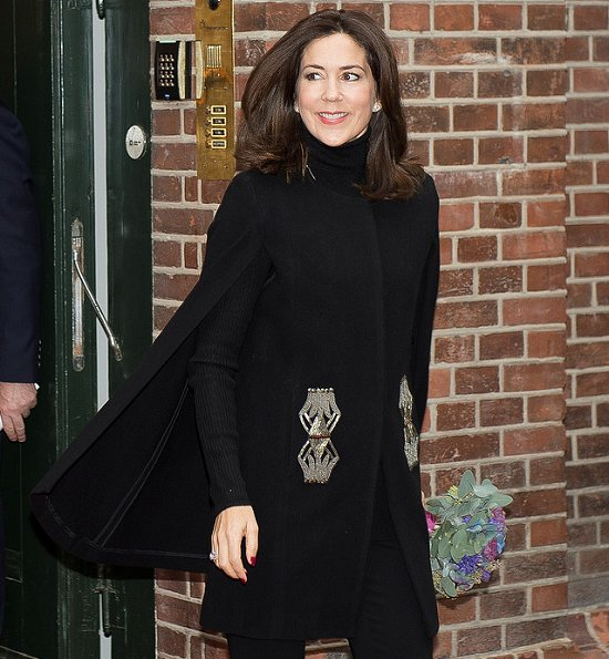 Crown Princess Mary wears Zara vest, cape coat, Gianvito Rossi shoes,  Crown Princess wore Marianne Dulong diamond jewels earrings