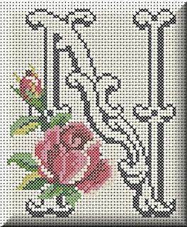 Alfabeto Monograma Com Rosas e Arabescos Em Ponto Cruz 37