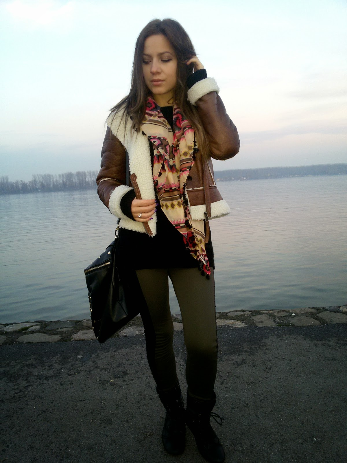 outfit, bomber jacket, olive green leggings, aztec print scarf, black combat boots, carpisa black studded bag