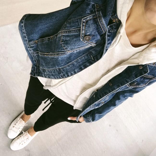 Jean jacket and sweat pants