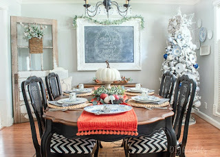 Thanksgiving to Christmas dining room