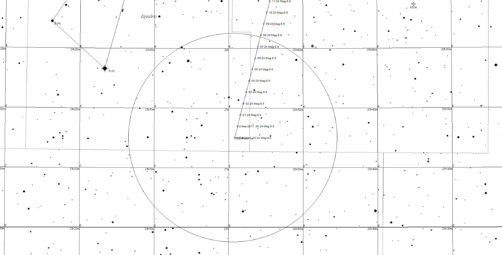 Printable black and white chart suitable for binoculars showing the track of 3122 florence from the 1st the large circle is the field of view of 10x50