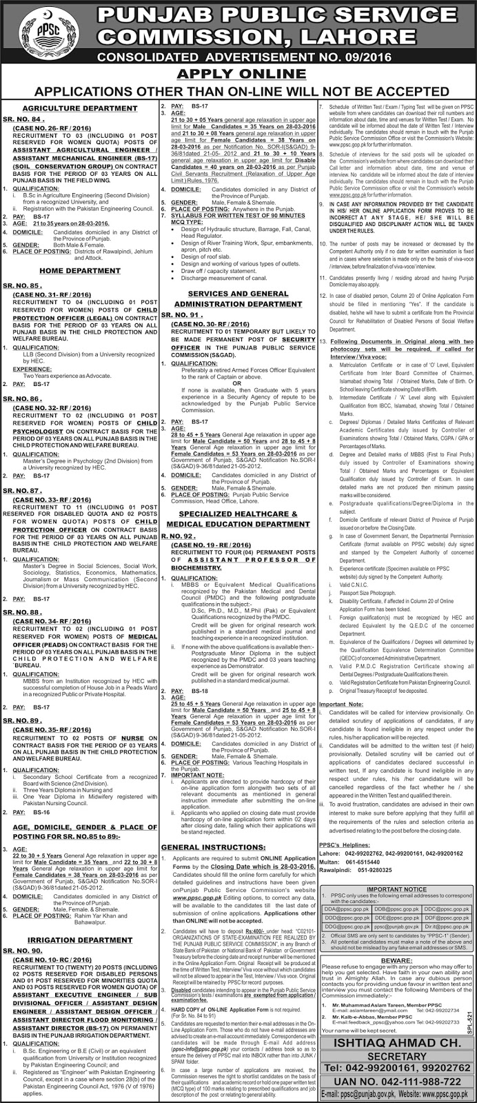 PPSC Jobs Consolidated Advertisement for Doctors, Nurses, Engineers