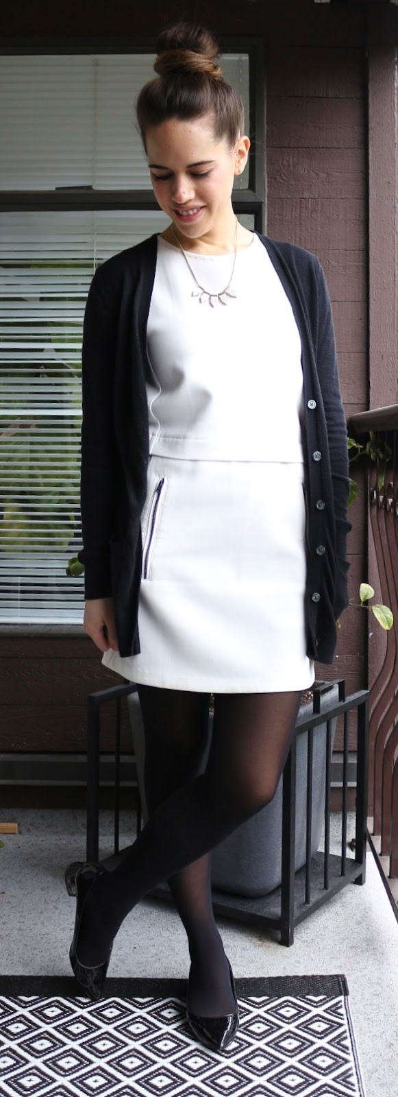 Jules in Flats - Winter White Shift Dress