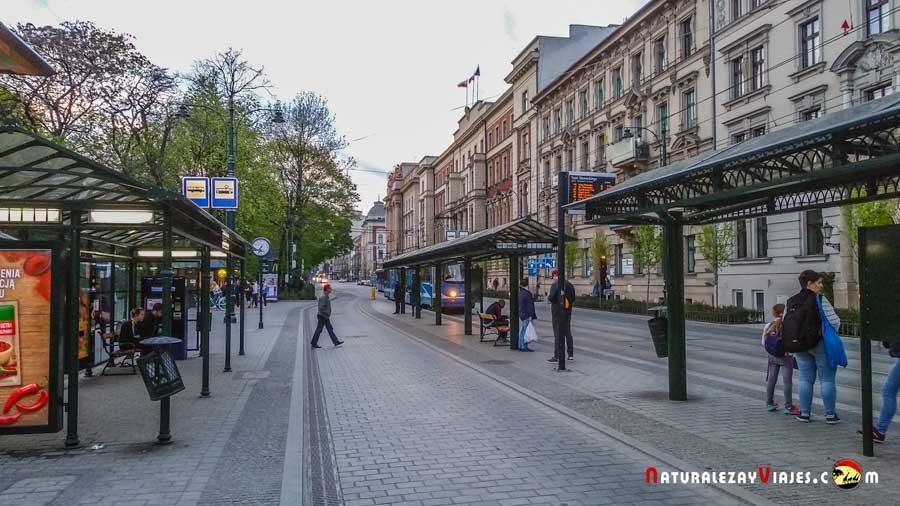 Parada de tranvía en Cracovia