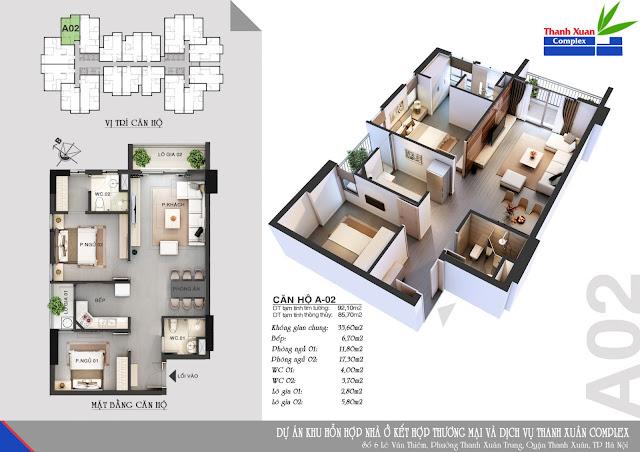 Thiết kế căn hộ A-02 Thanh Xuân Complex
