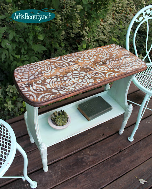roadside rescue simple stencilled sidetable makeover paisley boho roadside rescue vintage makeover BOHEMIAN DECOR