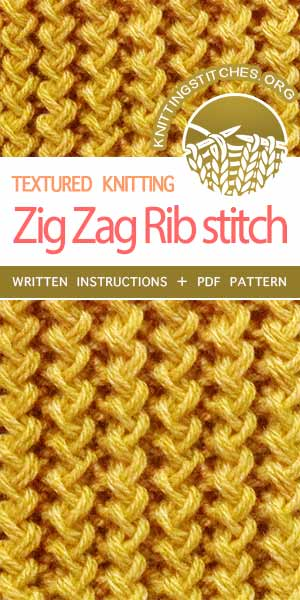 Zig Zag Links Knitting Pattern | Rib Stitch Knit | Zig Zag Knitted Stitches | Rickrack rib stitch