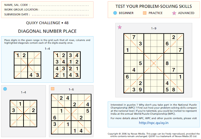 DIAGONAL NUMBER PLACE or DIAGONAL SUDOKU Puzzles