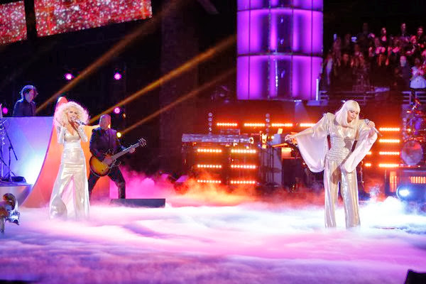 Christina Aguilera and Lady Gaga performing at The Voice platform