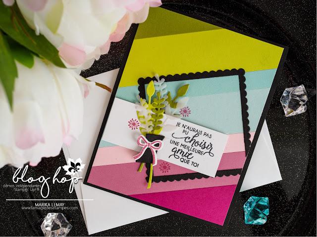 carte avec le lot Ravissant bouquet qui montre comment utiliser nos retailles de cartons