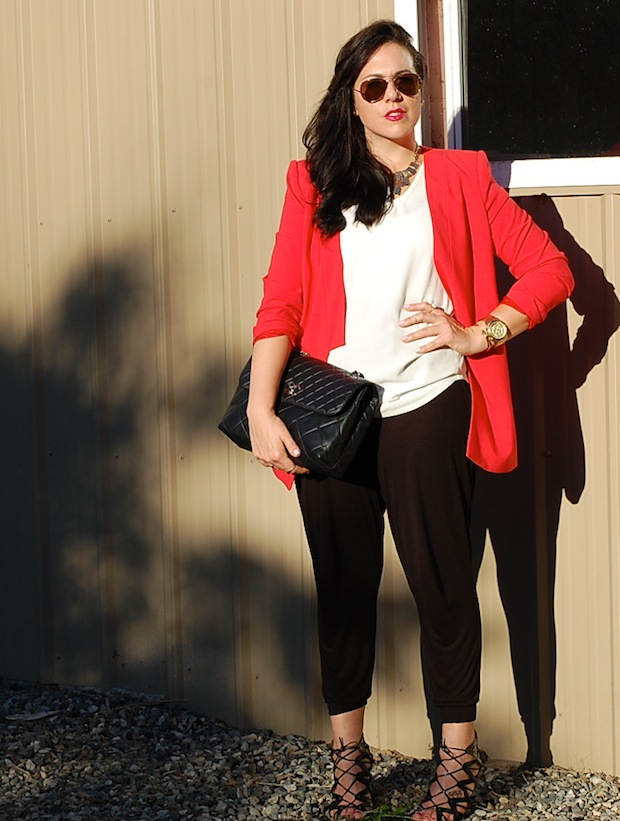 Red BCBGmaxazria blazer, H&M harem pants, Chanel ITB bag, T.Babaton tank top and Prabal Gurung for Target cage heels.