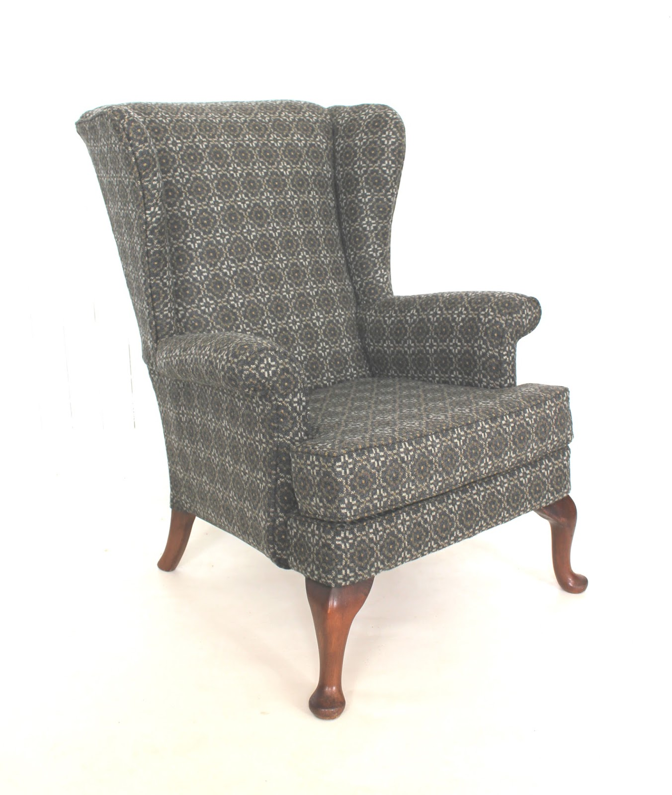 A Parker Knoll 720 Armchair Reupholstered In Melin Tregwynt Vintage Rose  Olive 100% Wool Fabric