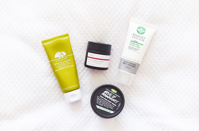 Origins Drink Up Intensive, Lush Mask of Magnaminty, Trilogy Mineral Radiance Mask, Manuka Doctor